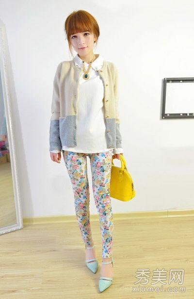 针织开衫搭配小脚裤 韩系风格小清新